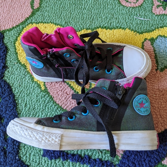 Converse iridescent high tops with zippers